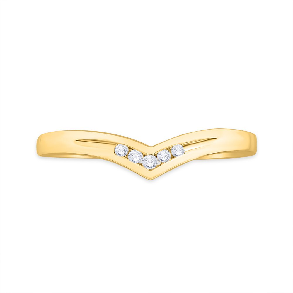 G-H,I2-I3 1//20 cttw, Size-5 Diamond Wedding Band in 10K Yellow Gold