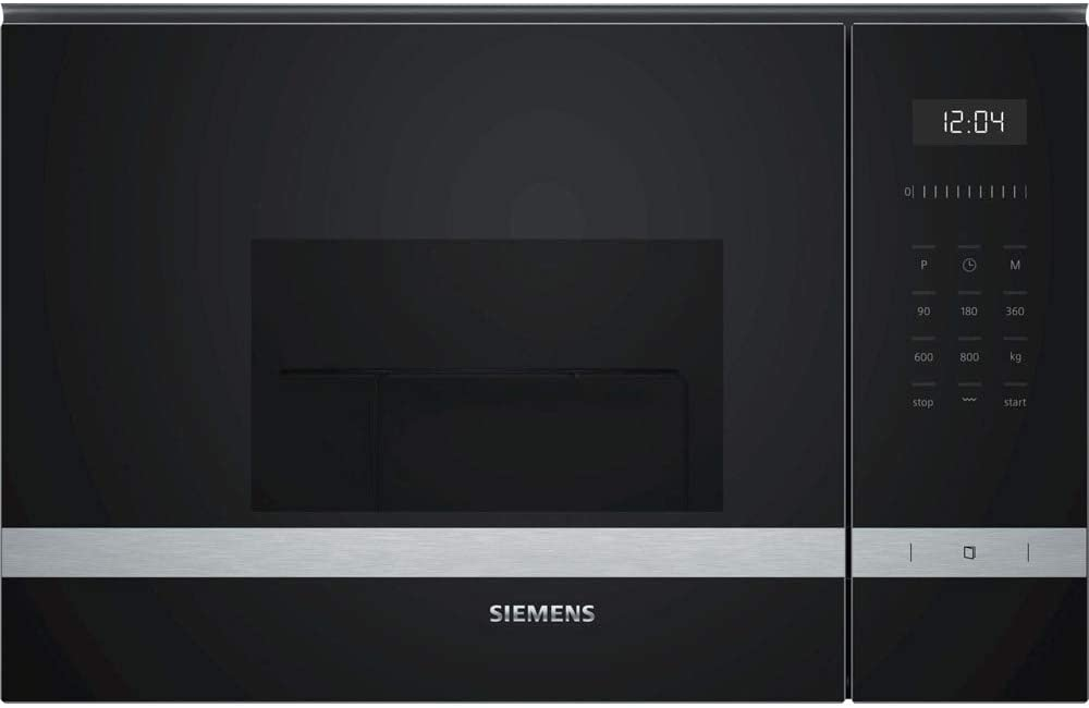 Siemens BE525LMS0 iQ500 - Microondas integrable, 38 cm, 20 L, 800 W, Grill 1000 W, Color negro y acero inoxidable