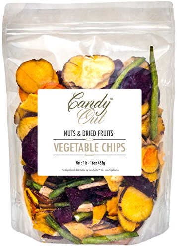 CandyOut Vegetable Chips 1 Pound Salted Vegetables in Sealed Reusable -