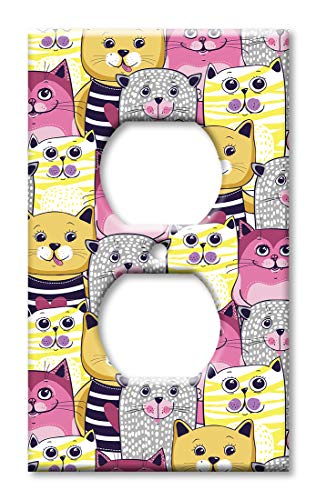 (Art Plates OVER SIZED Outlet Cover/OVERSIZE Outlet Switch Plate - Pink, Yellow & Gray Cat Toss)