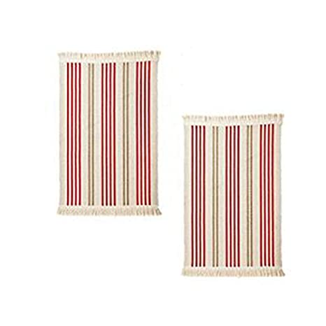 Ikea Flatwoven Cotton Kitchen Area Rug With Color Stripes 22 X 33 Low Pile Machine Washable Throw Mat Runner 2x Rugs 2 Red Green Stripe