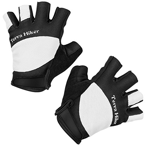 Terra Hiker Cycling Gloves, Sports Professional Training, Biking, Riding Gloves, Easy to Pull Loops, Abrasion Resistant, Absorbs Impacts (White M)