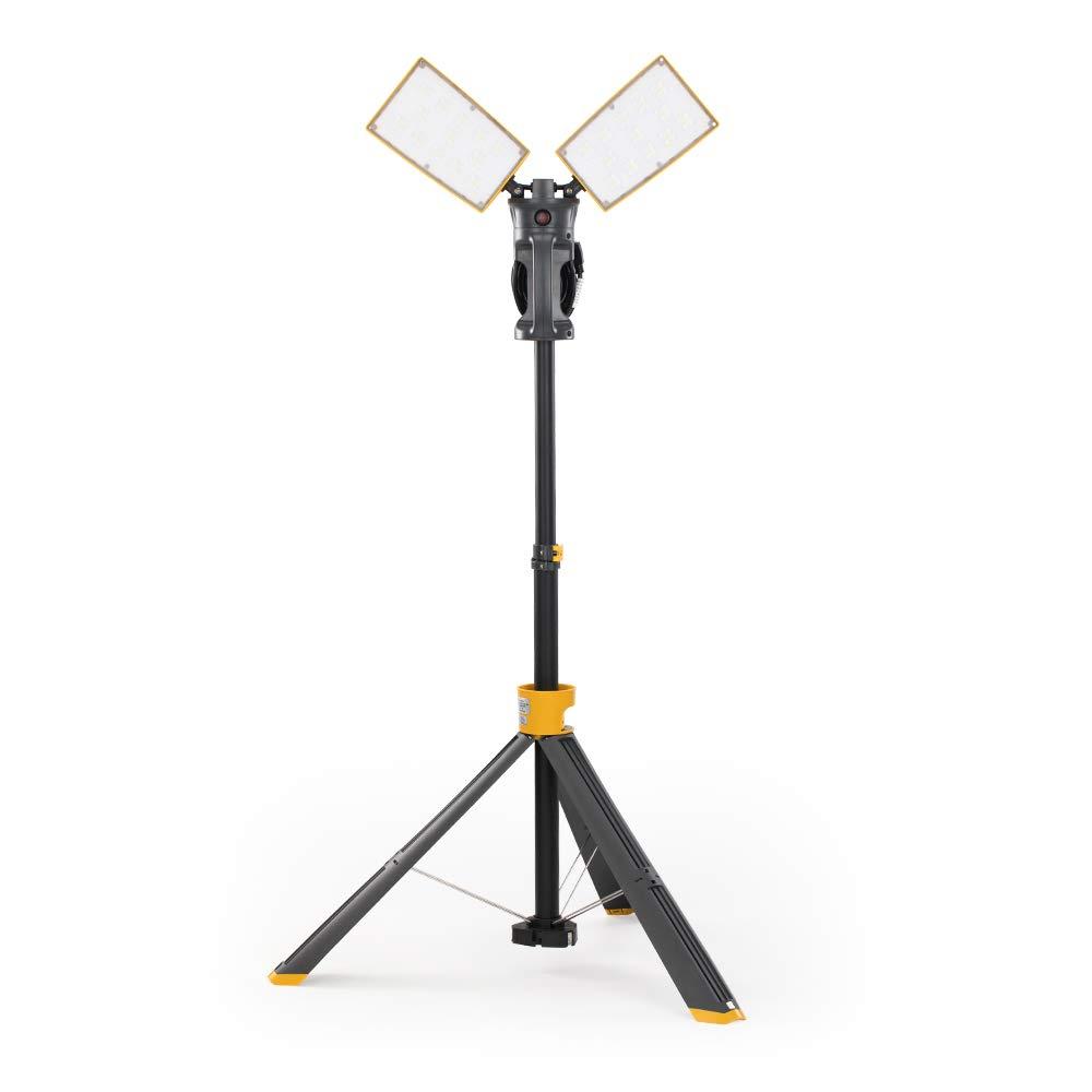 Lutec 7000 Lumen 93 Watt Dual-Head LED Work Light with Telescoping Tripod, Rotating Waterproof Lamps and 8 Ft 3-Prong Power Cord
