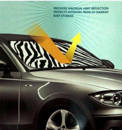 White Zebra Animal Print Car Truck Front Windshield Auto Accordion Style Sunshade - Jumbo Size