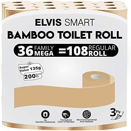 Elvissmart Bamboo Toilet Paper, 36 Mega Rolls=108 Regular Rolls, 200 Bath Tissue/Roll, 3 Packs of 12 Rolls