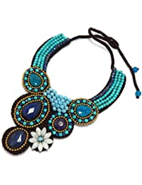 "Luxury Bib Bauble Adjustable 18-19"" Necklace w/ Blue Agate, Jade, Crystal Glass, & Turquoise 90-890-2500"