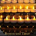 Innovator High Capacity Battery Powered Led Flameless tealight Candles ,with Remote and Timer for Outdoor, Indoor, Thankgiving Days, Christmas Day (Amber 12pcs)