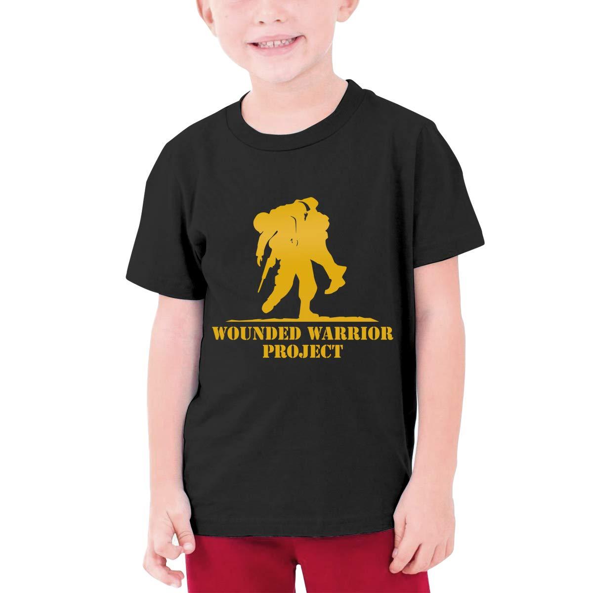 Kids Soft Cotton T Shirt Wounded Warrior Stylish Crewneck Short Sleeve Tops Black