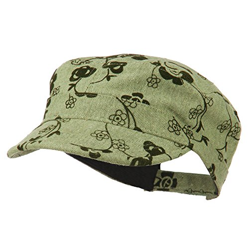 Flower Jeep Style Army Cap - Olive OSFM (Military Jeep Caps)