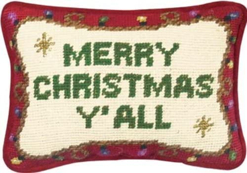 6 1 2 x 9 Needlepoint Pillow – Merry Christmas Y All