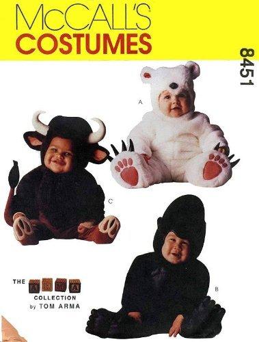 McCall's 8451 Toddler Animal Costumes Sewing Pattern Size 1/2,1,2 Gorilla, Bull, Polar Bear ()