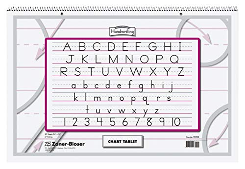 Zaner-Bloser ZP9700 2-Hole Punched Manuscript Cover Spiral Bound Chart Tablet, Size, 30 Sheets, 2