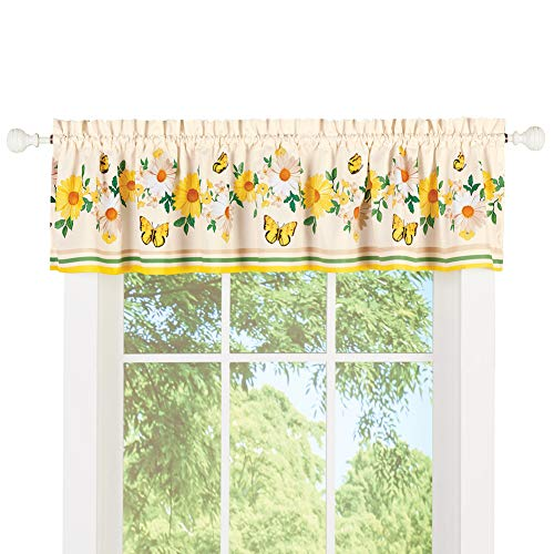 Collections Etc Daisy and Butterfly Window Valance Curtain - Seasonal Window Accent for Bathroom or Any Room in Home