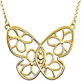 Yellow-gold Butterfly & Floral-Inspired Necklace or Center