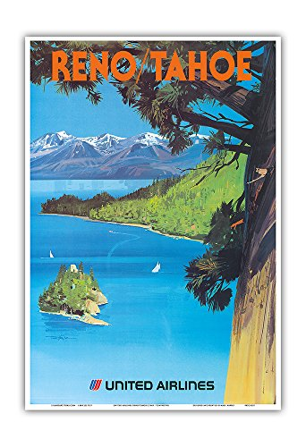Reno, Nevada - Lake Tahoe, California - United Air Lines - Vintage Airline Travel Poster by Tom Hoyne c.1965 - Master Art Print - 13in x 19in