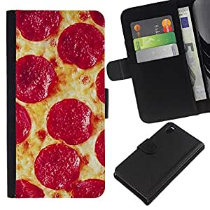 All Phone Most Case / Oferta Especial Cáscara Funda de cuero Monedero Cubierta de proteccion Caso / Wallet Case for Sony Xperia Z3 D6603 // Pepperoni Italian New York Food