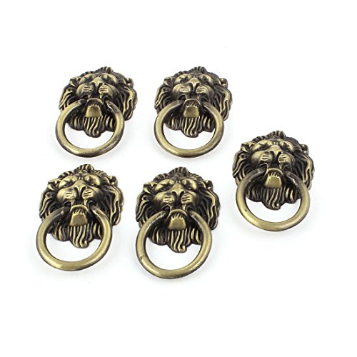 (uxcell Vintage Lion Head Ring Dresser Drawer Cabinet Door Pull Handle 5pcs)