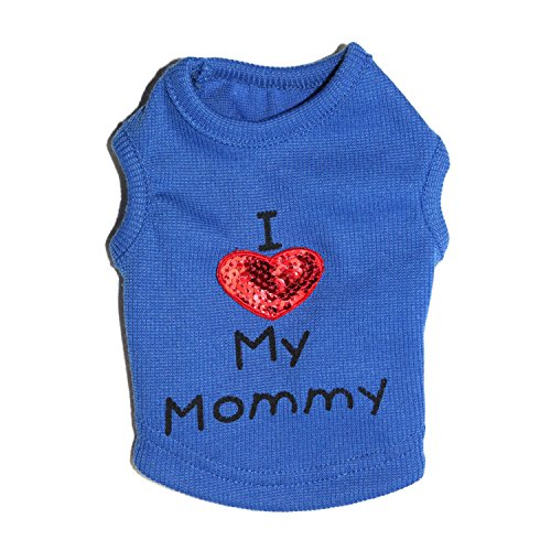 Petall Dog Shirts I Love My Mom/Mommy Dad/Daddy Clothes Doggy Slogan Costume Cute Heart Vest for Small Dogs Puppy -