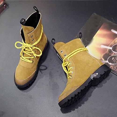 Inkach Femmes Lacets Jusquà Martin Chaussures De Chaussures Faux Suède Douces Plates Bottines Marron