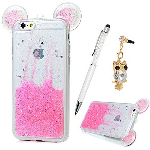 iPhone 6S caso, iPhone 6Caso (11,9cm), YOKIRIN Creative 3d con purpurina orejas. Lujo Bling De Plástico Transparente...