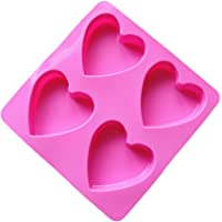 Bullidea Birthday Cake Mold Heat Shape Chocolate Jelly Silicone Baking Mould Sugar Fondant Decorating Cavities Kitchen Craft Tools for Party Pink 1Pcs