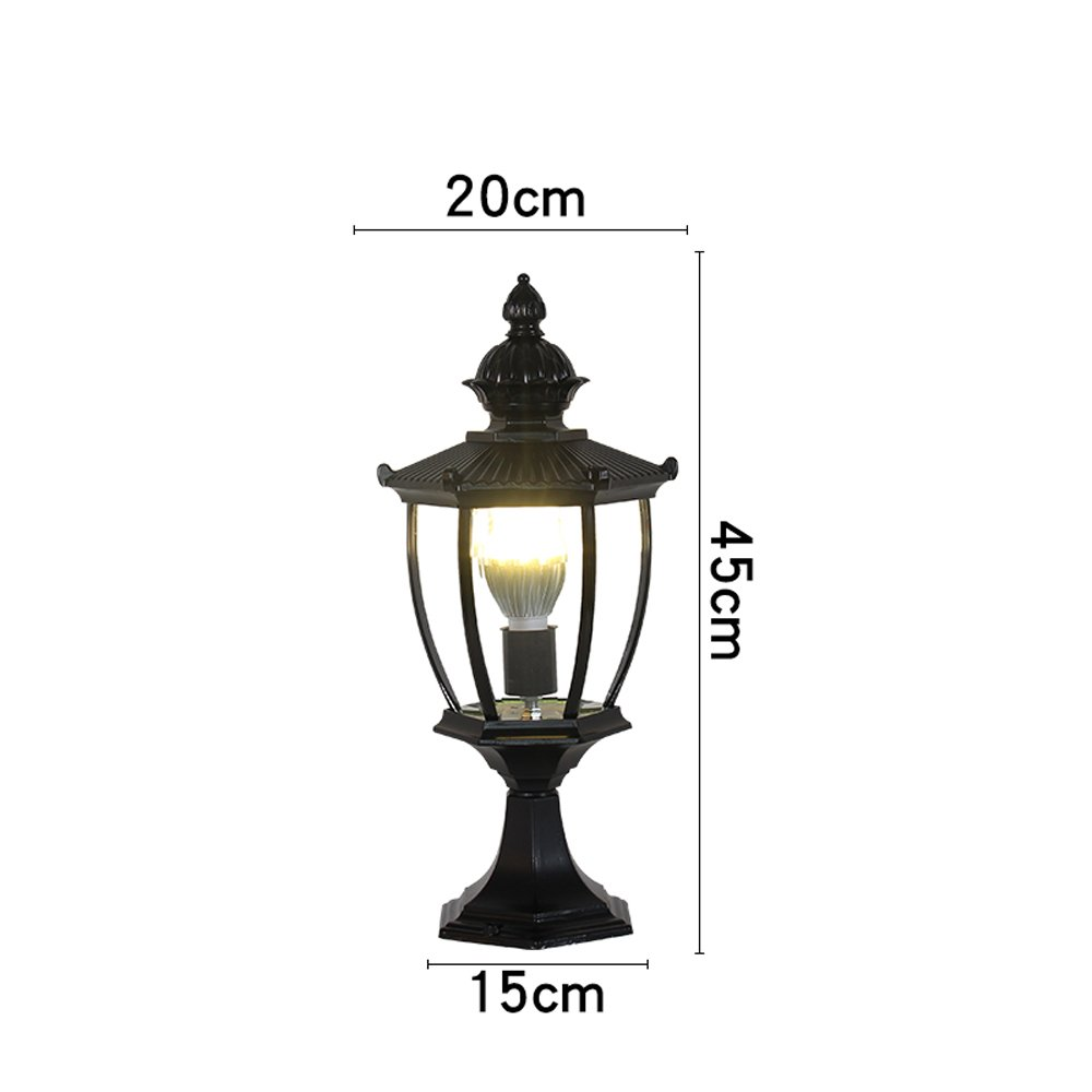 Modeen Wall light Column lamp,Outdoor Table Desk Lamp Column Lamp Tradition Victoria Antique Glass Lantern Aluminum Waterproof Continental Villa Patio Park Garden Light Landscape Lawn Lights
