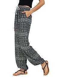Urban CoCo Women's Casual Boho Floral Print Yoga Pants Harem Pants