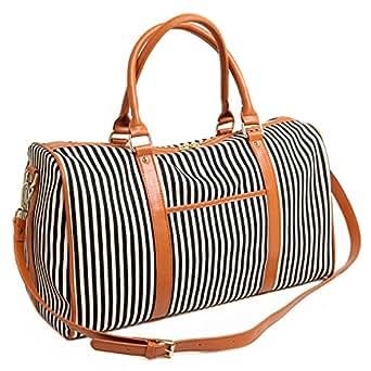BAOSHA HB-25 Ladies Women Canvas Holdalls Weekender Bag Travel Duffel Tote Bag Weekend Overnight Travel Bag Handbags with Strips and PU Leather Decoration (Black)