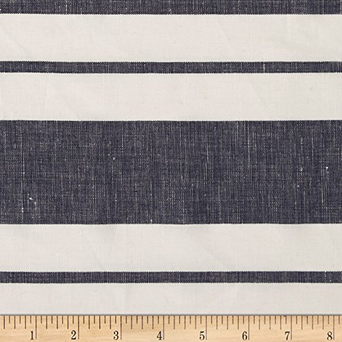 - Fabric Cotton Linen Stripe Navy/White Yard