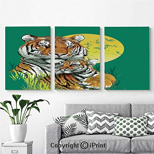 Canvas Prints Modern Art Framed Wall Mural Tiger Family in Jungle Full Moon Light Night Grass Aggressive Abstract for Home Decor 3 Panels,Wall Decorations for Living Room Bedroom Dining Room Bathroo