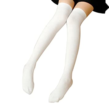 Las mujeres niñas Fashion Creative muslo calcetines de rayas cálido largo calcetín de ventilar, blanco: Amazon.es: Deportes y aire libre