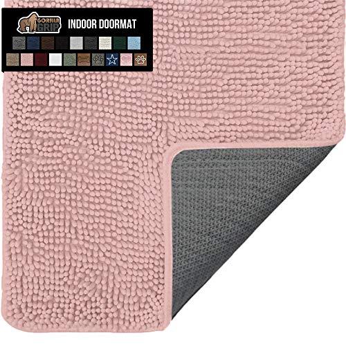 Gorilla Grip Original Indoor Durable Chenille Doormat, 24x17, Absorbent Washable Inside Mats, Low-Profile Rug Doormats for Entry, Mud Room Mat, Back Door, Busy Areas, Dusty Pink