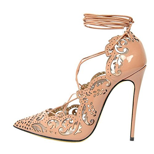 Hollow Sharp Solid Strap size Apricot heel Color Shoes 41 Shallow mouth Big DYF High color 8qKwI57AK