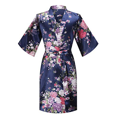 MORFORU Girls Kids Daffodils Silky Satin Kimono Robe Sleepwear for Wedding Spa Party, Short (Navy, Tag 10 for 3'7