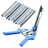 1Pc Durable Blue Hog Ring Plier Ringer Tool with 600Pcs M Clips Chicken Mesh Cage Wire Fencing Repair H