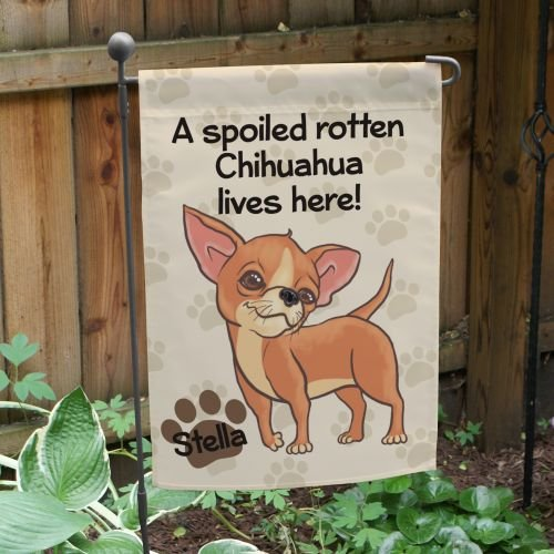 GiftsForYouNow Personalized Chihuahua Spoiled Here Double Sided Garden Flag, Polyester