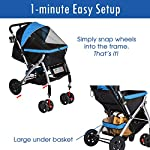 HPZ Pet Rover Premium Heavy Duty Dog/Cat/Pet Stroller Travel Carriage with Convertible Compartment/Zipperless Entry/Reversible Handlebar/Pump-Free Rubber Tires for Small, Medium, Large Pets 18