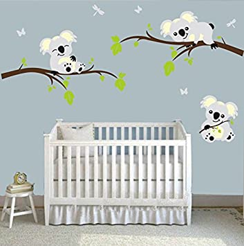 MAFENT(TM)Three Koalas Play on the Tree Branches Wall Decals DIY Vinyl Wall  Sticker Nursery Baby...