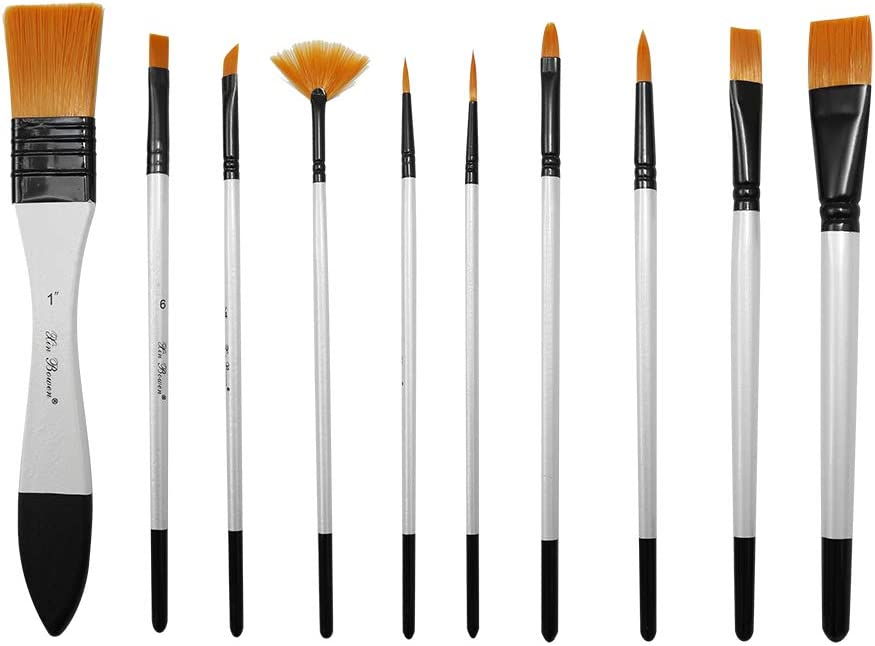Adults /& Kids Paint Brush Set for Acrylic Oil Watercolor and Gouache Painting 10 Different Sizes for Artists