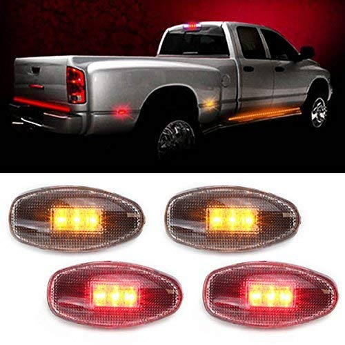 - iJDMTOY (4) LED Fender Bed Side Marker Lights Set For GMC Sierra Dually Chevrolet Silverado 2500 3500 HD Dual Wheeler Trucks (2 x Amber, 2 x Red) (Clear Lens)