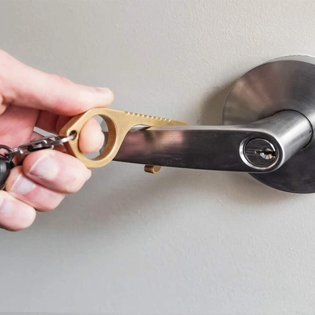 2 Pack Hygiene Door Closer Non-Contact Handheld Brass EDC Keychain Tool Offering Non-Contact Door Opener Hook /& Stylus Utlity Tool