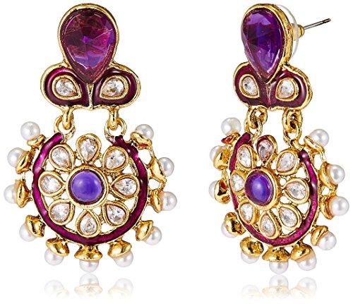 Aheli Dangle & Drop Earrings for Women (Purple) (A1E33)