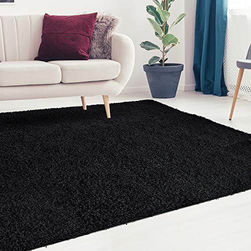 iCustomRug Cozy and Soft Solid Shag Rug 6X9 Black Ideal to Enhance Your Living Room and Bedroom Decor ()
