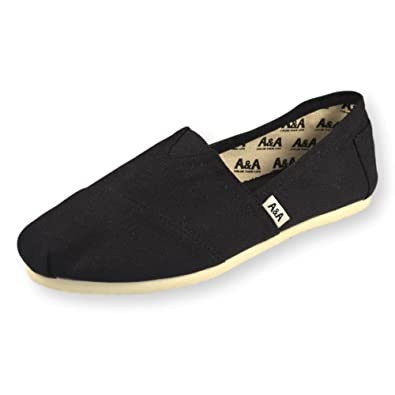 A&A Vegan Black Alpargatas Espadrille Flats Canvas Shoes (Classics) US5