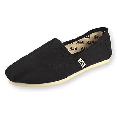 b143aa72796 A A Vegan Black Alpargatas Espadrille Flats Canvas Shoes (Classics) US5