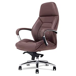 Gates Genuine Leather Aluminum Base High Back Executive Chair - Dark Brown