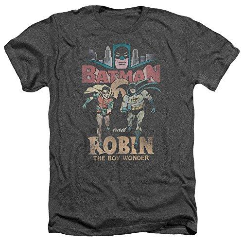 Trevco Men's Batman Classic TV Short Sleeve T-Shirt, Heather Charcoal XX-Large]()