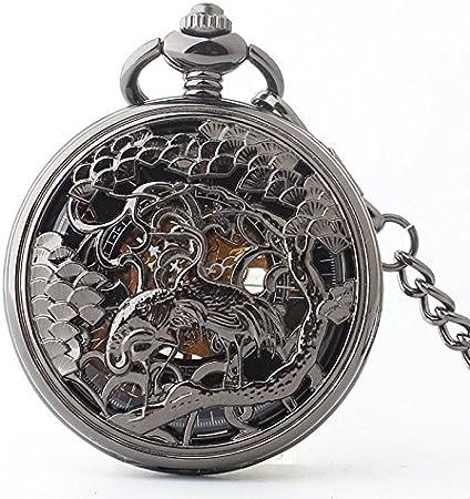 HBB Romanos literales de acero de tungsteno negro de bolsillo mecánico del reloj / hombres y mujeres ancianos cumplan sus regalos