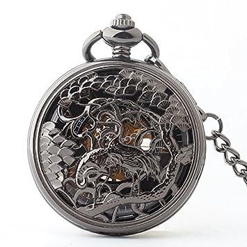 Y & M acero de tungsteno negro alfabeto romano reloj de bolsillo/hombres y mujeres