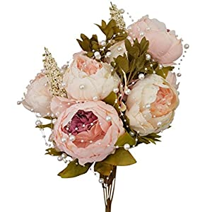 Hmxpls Vintage Artificial Peony Silk Flowers Bouquet, Craft Fake Flowers Floral Decor Glorious Moral for Home Dining-Table Hotel DIY Party Marriage Wedding Christmas Decoration (Light Pink) 4